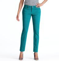 """Petite Color Pop Curvy Skinny Jeans - This stretch skinny leg pair—cut just right to flatter curves—comes in an array of crayon-chic hues, for a playfully modern color pop. Front zip with button closure. Wide belt loops. Five-pocket styling. Tonal topstitching. 28"""" inseam. To give you the best possible fit, we've changed our denim sizing to waist sizes. Use the following list to compare sizes: 24=00, 25=0, 26=2, 27=4, 28=6, 29=8, 30=10, 31=12, 32=14, 33=16, 34=18"""