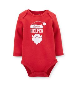 22ee7eb134 Carters Santas Helper Red Long Sleeve One Piece Bodysuit Baby Girl Boy 3  Months