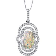 Sterling Silver Vintage Opal Pendant with Brilliant Cubic Zirconia