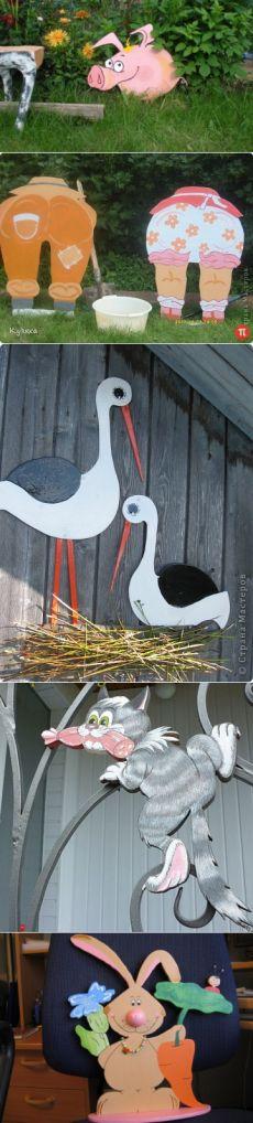 Оригинальные поделки из фанеры для сада и дачи