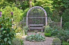 The lattice bench is a great place to view the garden and the mountains Full Sun Garden, Garden Shower, Landscape Design Plans, Garden Maintenance, Garden Pictures, Garden Seating, Garden Structures, Garden Gates, Backyard Landscaping