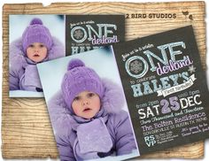 Winter ONEderland party - First birthday invitation - Winter birthday party invitations- 1st birthday invites - DIY printable chalkboard by 2birdstudios on Etsy https://www.etsy.com/listing/203770785/winter-onederland-party-first-birthday