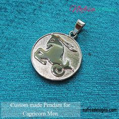 Metal : 925 high quality silver Handmade Capricorn symbol pendant for Men. The client loves his horoscope and desire to carry it in style. Subscribe to our monthly Newsletter & join an Elite Group of Jewellery lovers at www.nafisadesigns.com Capricorn Symbol, Capricorn Man, Handmade Silver, Custom Jewelry, Horoscope, Love Him, Join, Lovers, Symbols