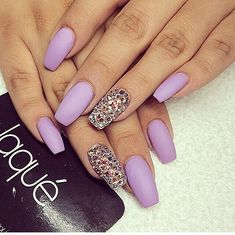 Lavender matte coffin shape nails with design