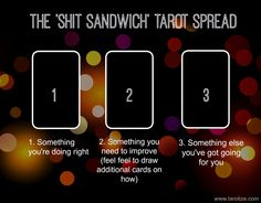 The Shit Sandwich Tarot Spread ⋆ Angelorum - Tarot and HealingThanks for this post.Did your teacher talk about the 'shit sandwich' when you went to school? It's a technique for how to deliver constructive criticism. Basically, it cons# Angelorum # Tarot Card Spreads, Tarot Cards, 3 Card Tarot Spread, Reiki, Chakra, Tarot Astrology, Tarot Learning, Tarot Card Meanings, Tarot Readers