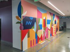 Muzae Sesay's 2017 anamorphic mural x is inspired by abstracted, imagined memories of his father's h… Environmental Graphic Design, Environmental Graphics, Wall Art Designs, Wall Design, Design Design, Office Mural, Collaborative Art Projects, School Murals, Murals Street Art