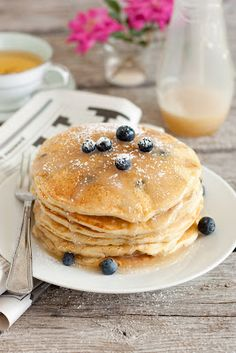Blueberry Buttermilk Pancakes and Vanilla Cream Syrup - Cooking Classy