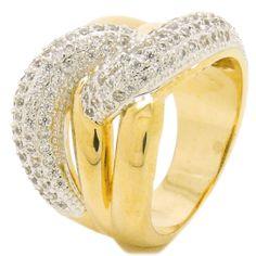 Anel semi-joia zircônias e ouro branco                              …