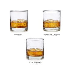 Knock one back for your favorite metropolis with a modern rock's glass etched with a snippet of a famous American city's distinct grid.