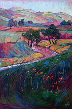 "California Hills Oak Trees Landscape Original Oil Painting by Erin Hanson 72"" x 48"""