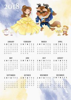 Calendário 2018 Anual A Bela e a Fera para baixar e Imprimir GRÁTIS | BLOG PEQUENAS INFINIDADES  #blogpequenasinfinidades #organization #organização #calendar #calendarios #calendario2018 #freeprintable #beautyandthebeast #watercolor