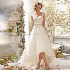 beautiful high low beach wedding dress lace organza  hot sale V Neck Cap Sleeve with Beading Belt