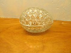 vintage lead crystal egg shaped trinket box with lid