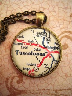 Vintage Tuscaloosa Alabama University Map Pendant by SterlingQuest