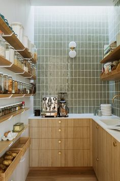 Alex and Corban Walls' new home is a bespoke beauty | homestyle Küchen Design, House Design, Design Ideas, Timber Shelves, Cocinas Kitchen, Interior Desing, Cuisines Design, At Home Store, Kitchen Interior