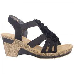 Rieker Roberta | Dressy mid wedge t-bar sandals in black | Mozimo