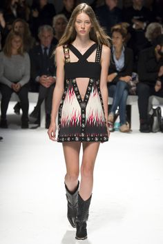Fausto Puglisi | Spring 2016 Ready-to-Wear | 15 Black/white/red printed embellished strappy mini dress