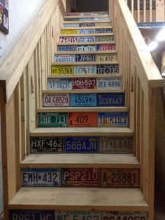 Repurposed old license plates add color and interest to steps