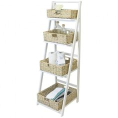 Hartleys 4 Tier White Ladder Shelf with Natural Wicker Basket Set