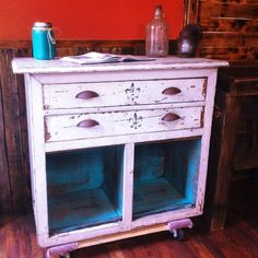 Vintage 100 year old cabinet. Deep South Re-Creations way. We added rusted cup pulls and used a gel polyurethane over the years of natural distressing. www.facebook.com/deepsouthrecreations.