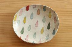 粉引きカラフルドロップのオーバル皿。
