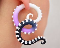 Tentacle Ear Plugs and Fake Gauge Earrings by TaniaChernova
