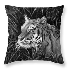 Tiger Throw Pillow featuring the drawing Tiger Portrait by Faye Anastasopoulou