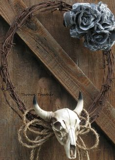 Country Western Wreath Rustic Wreath Barbwire by ThrownTogether