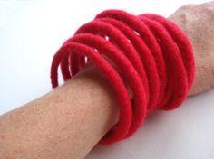 Stack of Red Wet Felted Bracelets