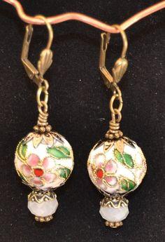Handmade Vintage inspired 20mm Cloisonne Beads and Faceted Quartz Earrings  #Handmade #Dangle