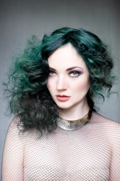 Chic Beauty With Green Hair | Hair Color Inspiration | Metal Necklace