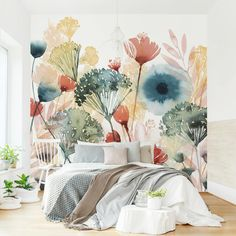 Photo Wall Mural - Wild Flowers In Summer I - Self-adhesive Wallpaper Square Format
