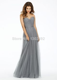 2015 Vintage  Simple Tulle Sweetheart Long Gray bridesmaid Dresses Full-Length Prom Dresses Custom Made Party Dresses  US $97.99