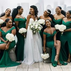 Cheap Green Mermaid Bridesmaid Dresses Off The Shoulder Satin Long Prom Wear Sweep Train Country Maid Of Honor Gowns · KProm · Online Store Powered by Storenvy Emerald Green Bridesmaid Dresses, Emerald Green Weddings, Mermaid Bridesmaid Dresses, Wedding Bridesmaids, Wedding Gowns, Bouquet Wedding, Green Bridesmaids, Black People Weddings, Wedding Bells