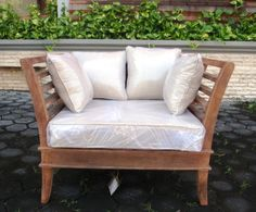 St. Thomas Collection, One Seater, Solid Mango Wood in a Galvanized Finish. Designed by local Kirkland (WA) artist, Richard Jamieson. (front view)    www.greatroomfurn.com    Contact: 425-242-4561 or Travis.MyHome@gmail.com