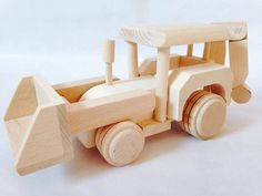 Wooden Tractor Exscavator Toy by FriendsOfForest on Etsy