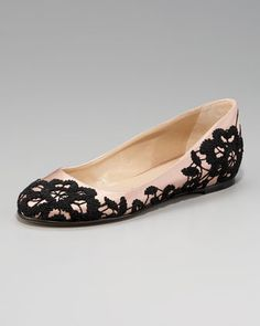 Valentino lace flats @ Neiman Marcus - $575. Oh bless, I adore this black lace.