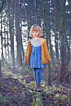 this outfit would be good to replicate as a grown up - blue dress and tights, brown boots and brown cardi