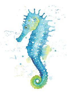 Beach Poster Seahorse Watercolor Print by DesignByTannersCreek