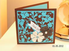 cards made with cricut cartridge straight from the nest   Filigree Thank You Card – Straight from the Nest