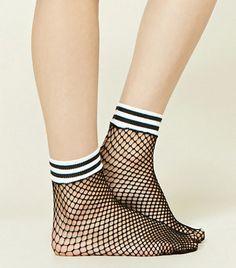 Forever 21 Striped Fishnet Ankle Socks