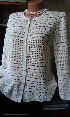 Gilet Crochet, Crochet Coat, Crochet Cardigan Pattern, Crochet Jacket, Freeform Crochet, Crochet Blouse, Irish Crochet, Knit Patterns, Crochet Clothes