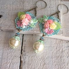 Romantic roses long shabby pink green pearls chandelier ooak earrings by…