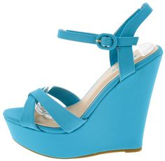 ELIZA25 TURQUOISE CUTE FASHION WOMEN'S ANKLE STRAP PLATFORM WEDGES ONLY $10.88. All women's shoes, heels, wedges, sandals, and flats are $10.88 a pair.