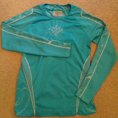 ATHLETA long sleeved top This aqua blue top is so warm and comfortable and in great condition from a smoke free and pet free home. I hate to let it go but i need Christmas money. . .lol Athleta Tops