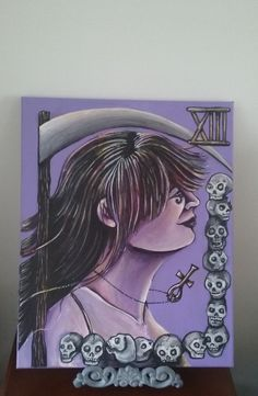 """Sandman Death Tarot Inspired Painting. """"It was like I knew her. Like she was my oldest, dearest friend. The kind of person you can tell anything to, no matter how bad, and they'll still love you, because they know you."""" -Brant Tucker talking about Death in Sandman #56 World's End 16x20 acrylic paint and alcohol based marker on cotton canvas. The piece comes with hanging wire attached A painting of the personification of death in the Sandman comic book done as a tarot card."""