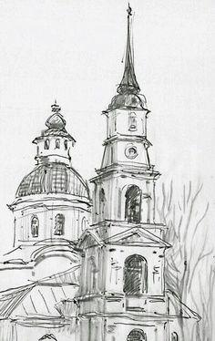 Landscape Pencil Drawings, Pencil Art Drawings, Cool Art Drawings, Art Drawings Sketches, Architecture Drawing Sketchbooks, Pencil Sketches Architecture, Arte Sketchbook, Urban Sketching, Art Inspo