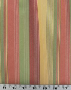 "<b>Width:</b> 56""<br> <b>Fabric Type:</b> Medium Weight Drapery/Light Weight Upholstery<br> <b>Description:</b> A beautiful, colorful striped cotton by Robert Allen. The widest stripe is 1-1/8"". Colors include shades of summery green, yellow, orange-red and red. This fabric is lovely for curtains, pillows, table cloths, napkins and upholstery that won't see too much traffic. Has a bit of stiffness to it, wh..."