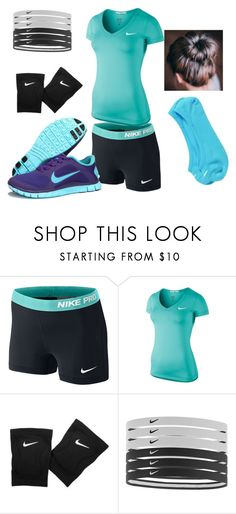 """Skyler's Volleyball Outfit"" by mrstuan ❤ liked on Polyvore featuring NIKE"