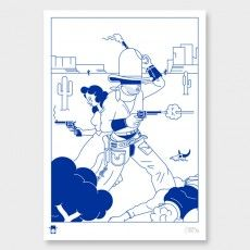 Shootout Art Print by Blood Bros Graphic Poster, Cartoon Illustration, Graphic Art Prints, Art, Poster Design, Kids Art Prints, Earth Art, Nz Art, Japanese Cartoon